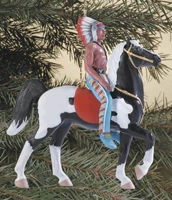 Breyer #700617 Retro Western Horse Ornament Indian On Black Pinto Fury Prancer Christmas Holiday Ornament