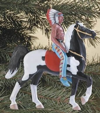 Breyer #700617 Retro Western Horse Ornament Indian On Black Pinto Fury Prancer Christmas Holiday Horse Ornament 2007