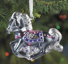 Breyer #700668 Silverbelle Blown Glass Christmas Ornament Grey Holiday Horse Ornament 2008