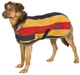 "WeatherBeeta Sandown Fleece Dog Blanket Double Polar Fleece Dog Coat Whitney Gold Stripes 16"""