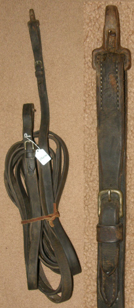 "Single Horse Driving Lines Heavy Duty Leather Work Lines Pleasure Reins 1"" x 14'"