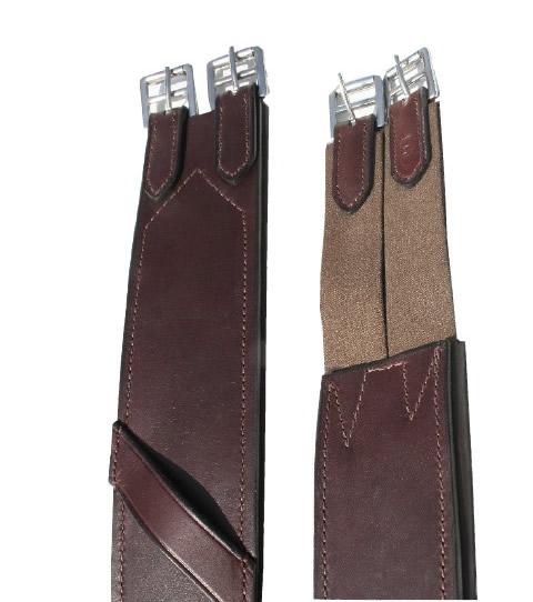 "56"" Shaped Leather Overlay English Girth Event Girth with Overgirth Loops Elastic Ends Dark Brown"