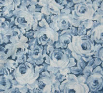 Blue Floral Print Fabric Cotton/Poly Dress Material Remnant