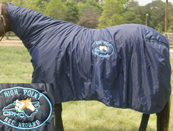 Show Cooler Show Blanket w/Neck Cover Award Blanket Ringside Blanket Contour Cooler L Horse Navy Blue