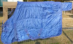 "64"" OF Quilted Nylon Turnout Style Stable Blanket Shoulder Gusset Pony Small Horse Winter Blanket Blue"