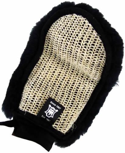 Mattes Sheepskin & Woven Cactus Grooming Mitt Sheepskin Grooming Mitten Grooming Glove