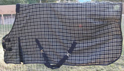 "74"" OF MacIntosh Quickdry Carefree Turnout Sheet Stable Sheet Shoulder Gusset Horse Black Plaid"