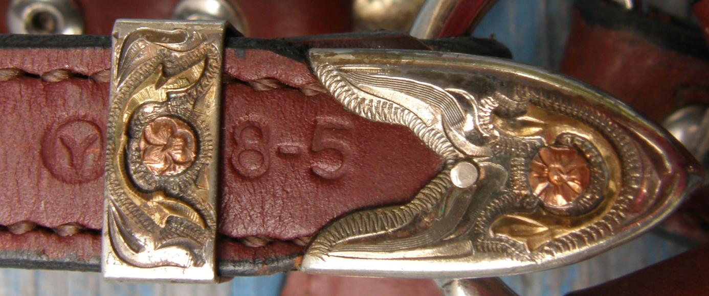 Vintage Circle Y Western Show Halter Alpaca Mexico Silver Buckles Stock Halter Copper Gold Silver Show Halter Brown Horse