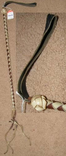 Plaited Leather Western Quirt Vintage? Braided Leather Crop Riding Whip Brown/White