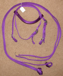 Nylon Western Bridle Western Headstall Split Reins Purple Pony/Cob