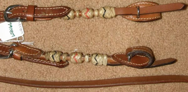 Sliding One Ear Western Headstall Quick Change Ends Round Braided Rawhide Trim California Braid Western Bridle with Split Reins Western Bridle Dark Chestnut Arabian/Horse