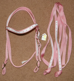 Ronmar Mini Heart Sweetheart Pony Western Bridle Pink Nylon Western Headstall Split Reins Pink/White Pony/Cob