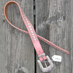 3-D Western Belt with Buckle Pink with Rhinestones