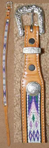 Tex Tan Inlay Belt Leather Western Belt Silver Belt Buckle