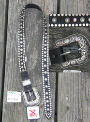 Girls Wrangler's Twenty X Western Belt with Buckle Black with Rhinestones