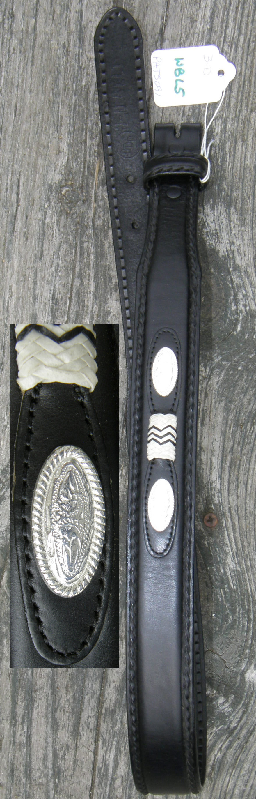 3-D Western Belt Black with Conchos & Trim