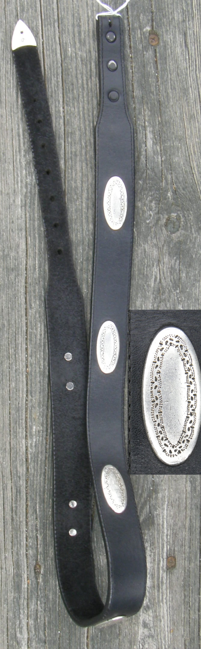 "32"" Brighton Western Belt Black with Silver Trim"