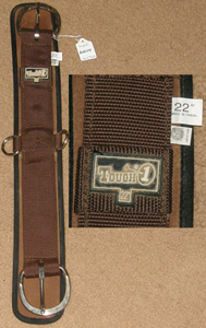 "Tough 1 Mini Air Flow Waffle Weave Western Girth 2 Part Neoprene Western Cinch 22"" Brown"