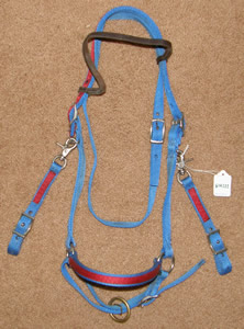 Nylon Halter Bridle Combo Western Headstall Trail Bridle with Snap On Cheeks Blue/Red Cob/S Horse