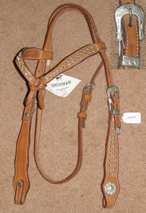 Showman Knotted Brow Western Headstall Chestnut Browband Shaped Cheek Futurity Headstall Western Bridle Silver Dots Spots Studs Silver Conchos Buckles Lt Oil Horse