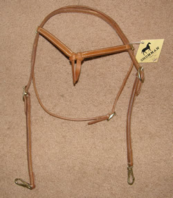 Showman Knotted Brow Western Headstall with Snaps Training Headstall Lt Oil Futurity Headstall Snap Ends Western Bridle Horse