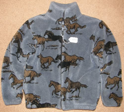 Black Mountain Horse Print Fleece Jacket Zip Front Galloping Horse Winter Coat Childs S