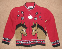 Heartworks Horse Print Zip Front Sweater Jacket Horse Heads Red Childs M