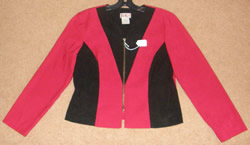 R & K Originals Suede Look Western Show Jacket Showmanship Rail Jacket Red/Black Ladies 10 Petite
