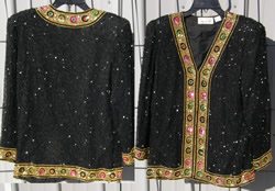Lawrence Kazar Beaded Silk Show Driving Jacket Beaded Jacket Black/Gold Ladies S
