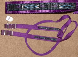 "Weaver? Triple E? Nylon Web Roping Rein Gaming Rein Round Rolled Handhold Fancy Trim Overlay Western Reins Purple 1"" x 6 1/2'"