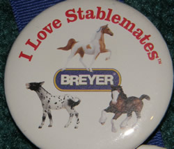 #5002 White I Love Stablemates Pinto Saddlebred Appaloosa Mule Bay Clydesdale Draft Horse Breyer Button Pin