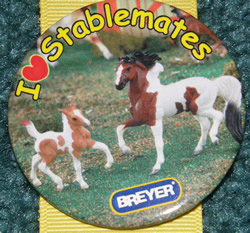 #59977 I Love Stablemates Pinto Stallion & Foal Horse Breyer Button Pin