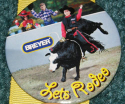 #6011 Lets Rodeo Bull Riding Cowboy Breyer Horse Button Pin