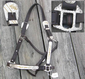 Western Show Halter Stock Halter Dark Brown with Silver Horse