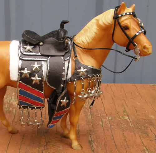 Model Horse Tack Props Breyer Small Classic Red White Blue Patriotic Stars & Stripes Parade Costume Western Bridle & Saddle