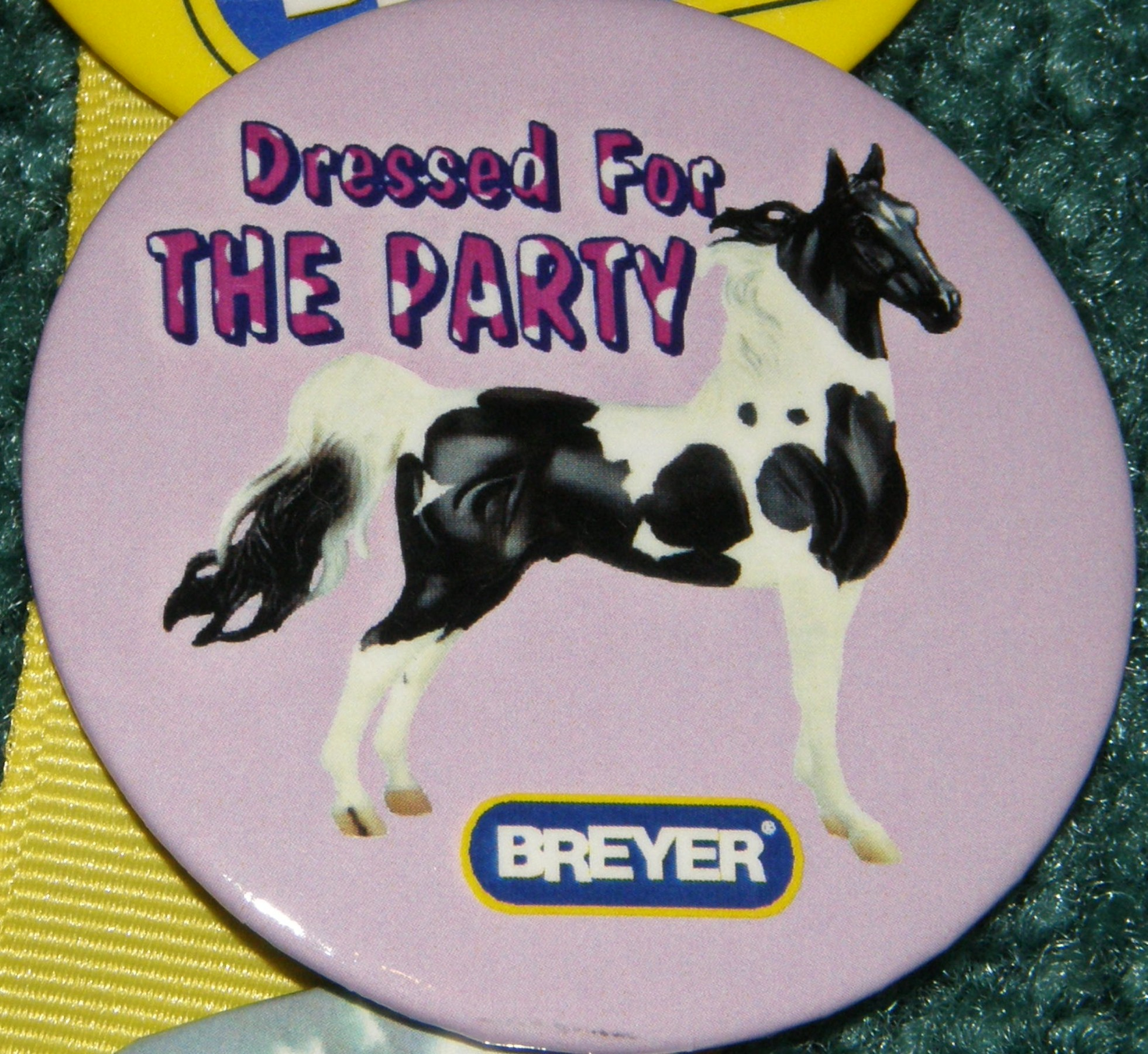 #1141 Black Pinto American Saddlebred Dressed For The Party Breyer Horse Button Pin