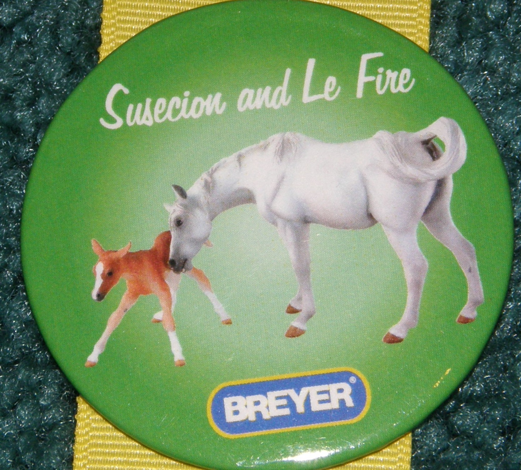 #1175 Susecion & Le Fire Arabian Horse Breyer Button Pin