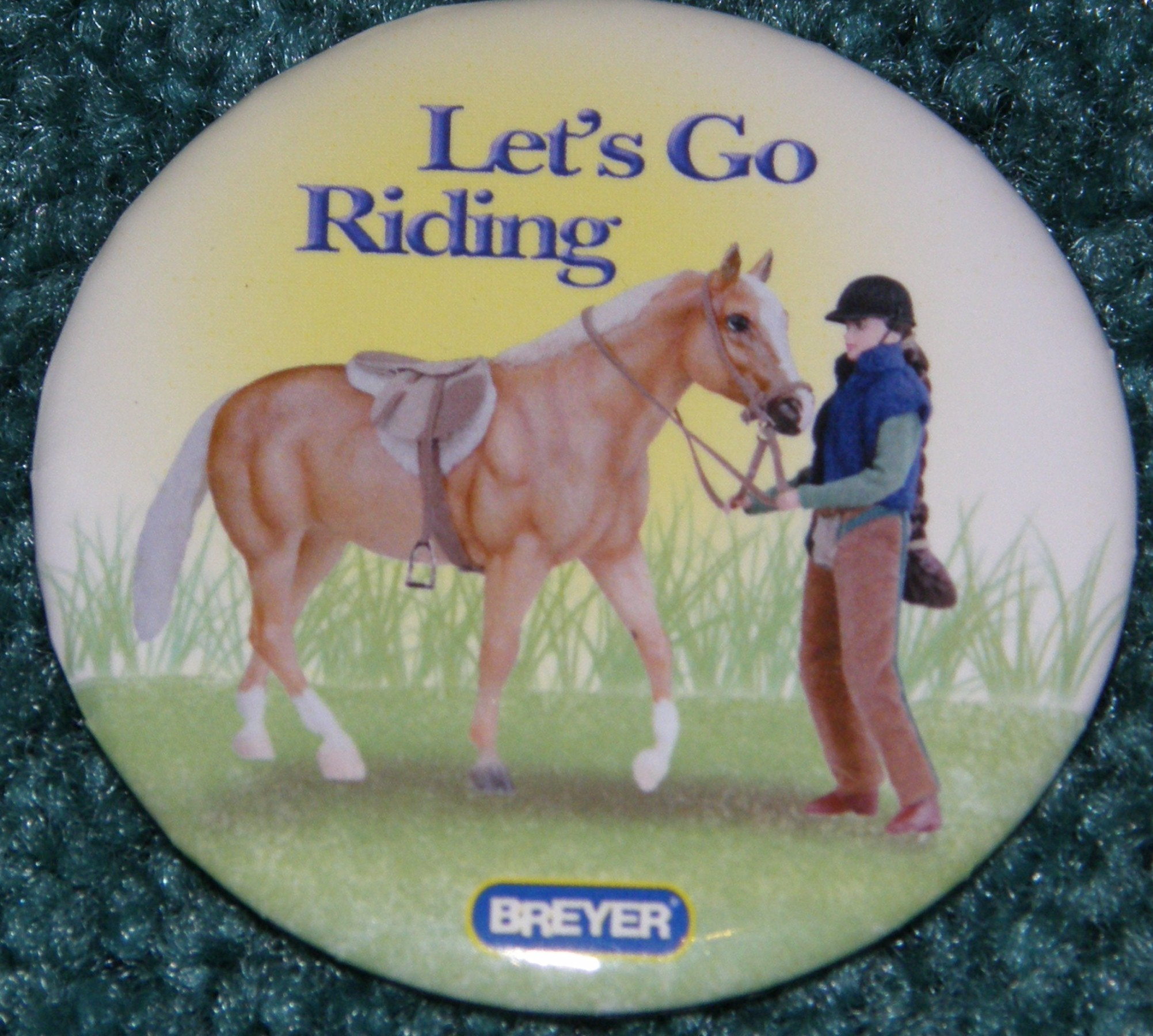 #1265 Let's Go Riding English Breyer Horse Button Pin