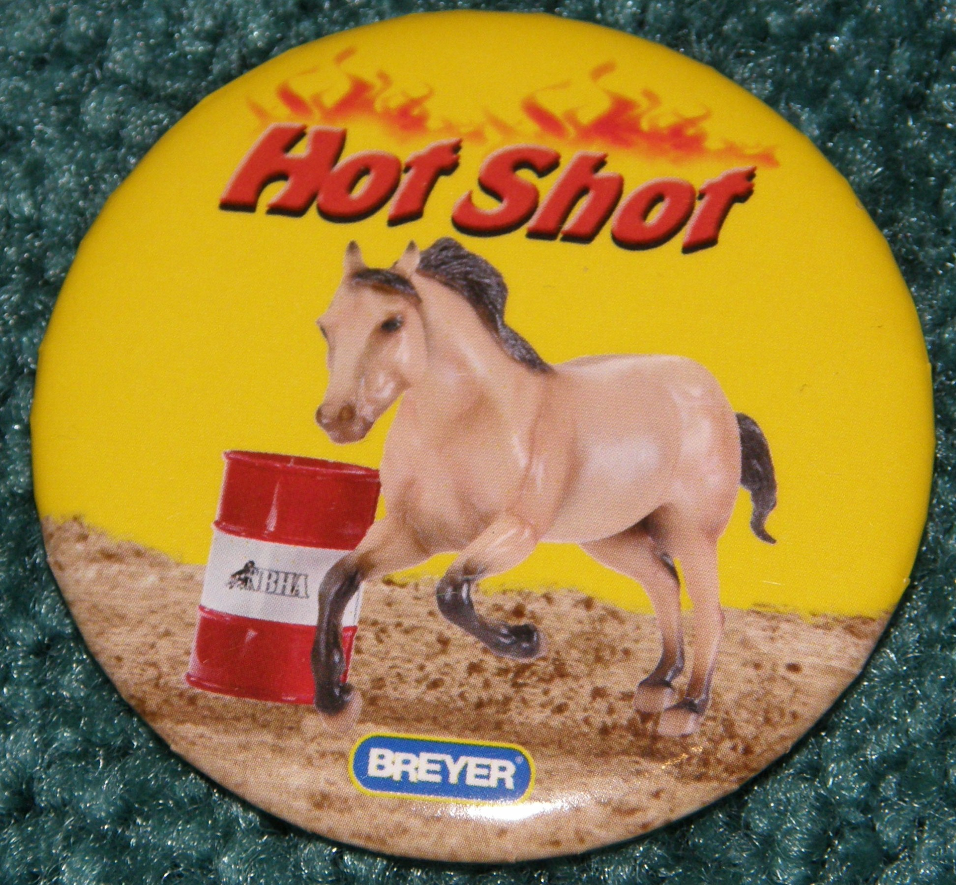 #1274 Hot Shot Barrel Racing Quarter Horse Breyer Button Pin