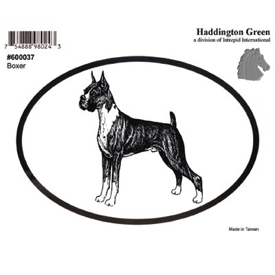 Boxer Dog Oval Decal Sticker