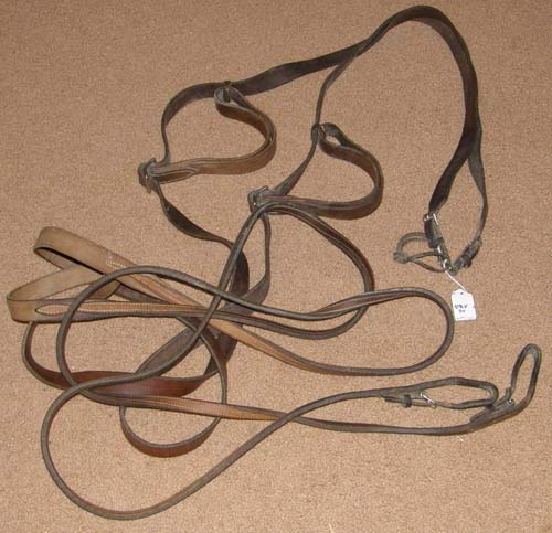 Single Horse Driving Lines Standardbred Racehorse Lines Driving Reins Leather Reins with Handholds