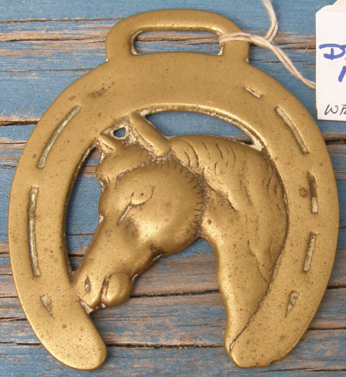 Vintage Horse Harness Brass Horse Head Horseshoe Harness Brass Decoration Medallion