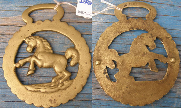 Vintage Horse Harness Brass Rearing Horse Harness Brass Decoration Medallion