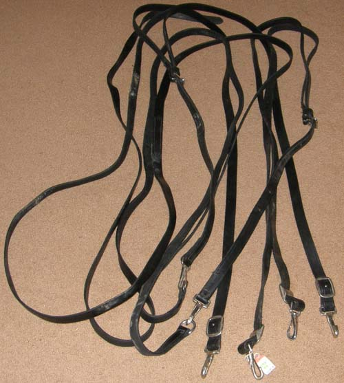 "Black Leather Draft Horse Driving Lines Team Driving Lines Reins 1"" x 20'"
