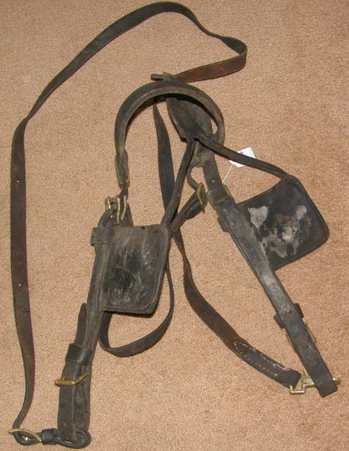 Vintage Draft Horse Draft Mule Driving Harness Bridle with Blinders Leather Driving Bridle with Side Check
