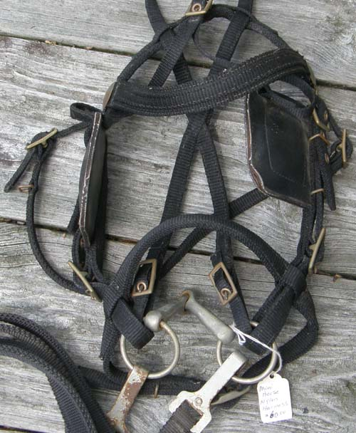Black Nylon Small Pony or Large Miniature Horse Driving Harness Synthetic Small Pony Harness Mini Driving Harness