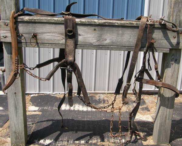 Vintage Draft Horse Draft Mule Driving Harness with Wood Harness Hames Heavy Duty Leather Driving Harness Chain Traces