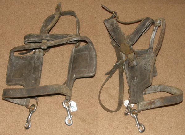 Vintage Draft Horse Draft Mule Driving Harness Bridle with Blinders Leather Driving Bridle