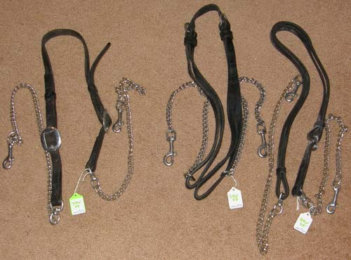 Draft Horse Harness Replacement Parts Black Leather Chain Side Check Strap