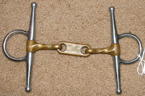 "4 1/2"" Copper Mouth Slow Twist Dr Bristol Full Cheek Snaffle Bit"